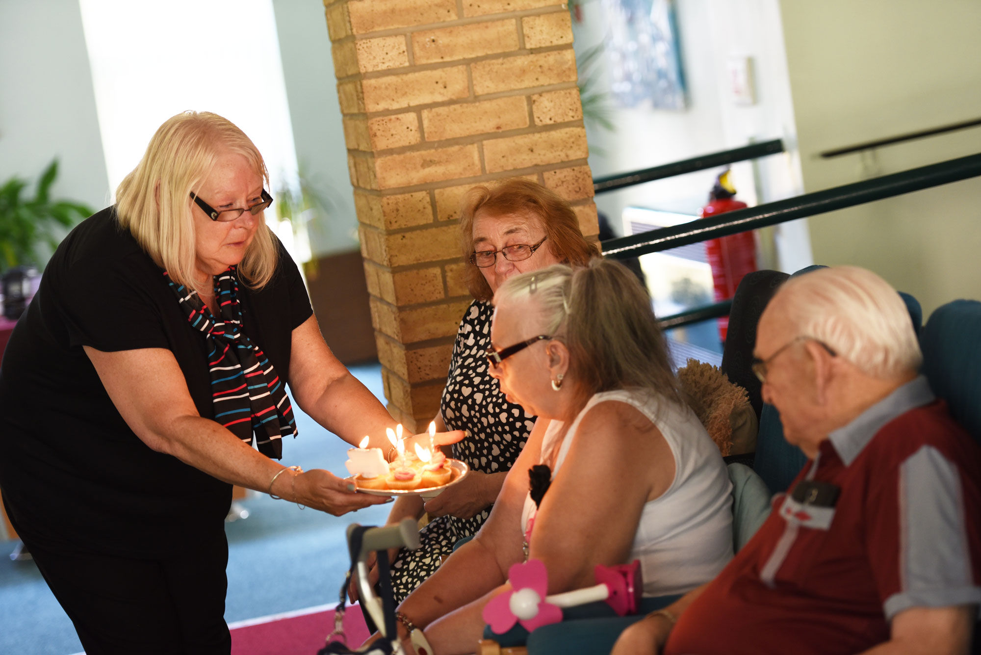 retirement-living customers enjoy a friends birthday