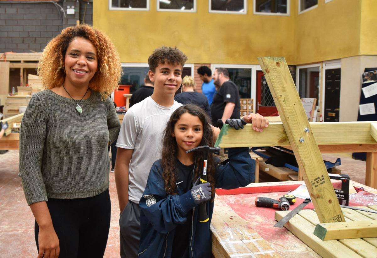 family taking part in build challenge