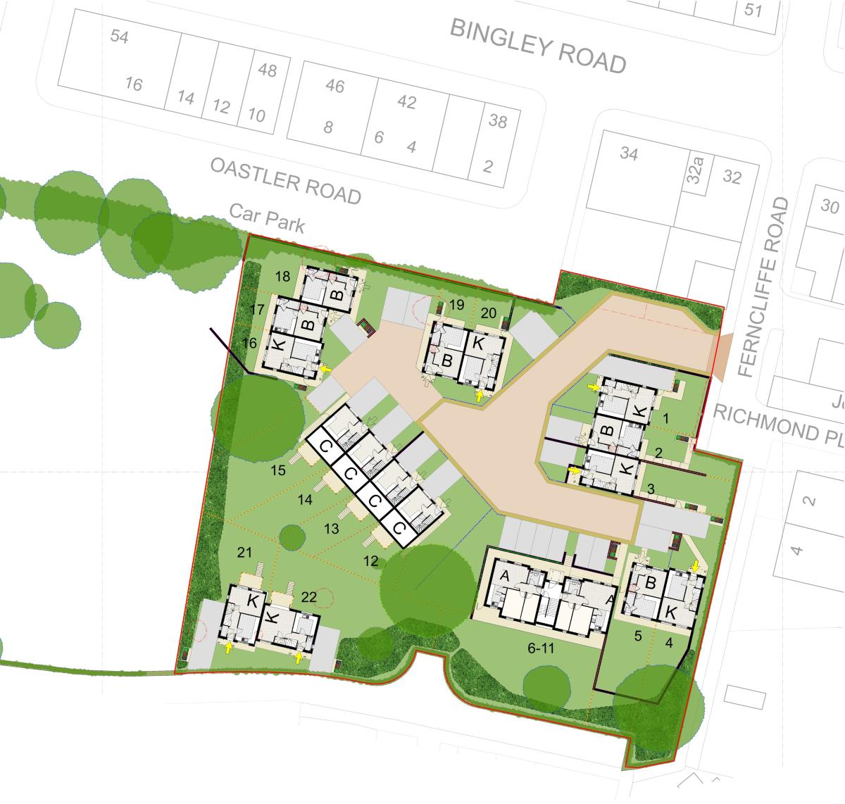 Saltaire new homes site map