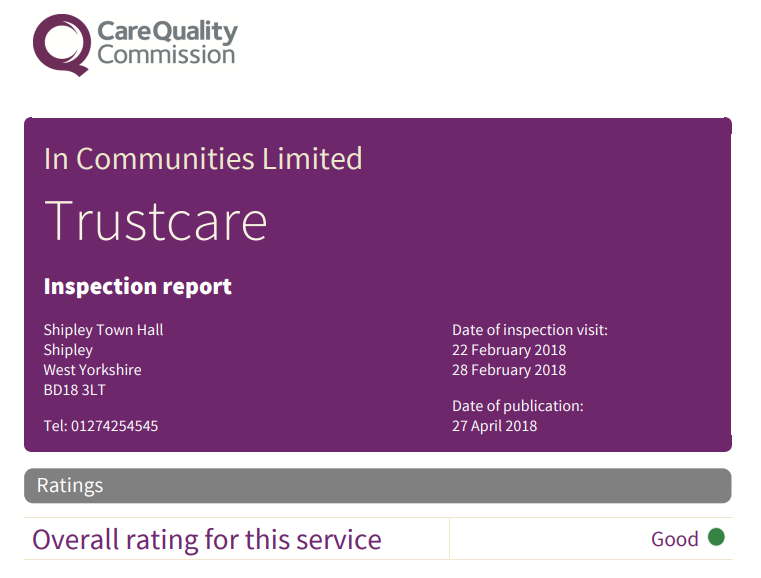 Care Quality Commission - Trustcare rating Good